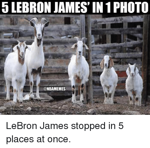 LeBron James, Nba, and Lebron: 5 LEBRON JAMES' IN 1 PHOTO  @NBAMEMES LeBron James stopped in 5 places at once.