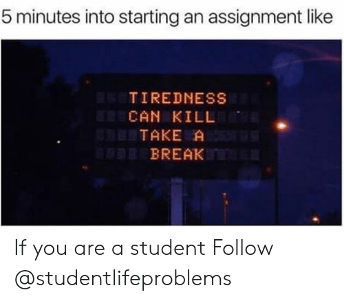 tiredness: 5 minutes into starting an assignment like  TIREDNESS  CAN KILL  TAKE A  BREAK If you are a student Follow @studentlifeproblems