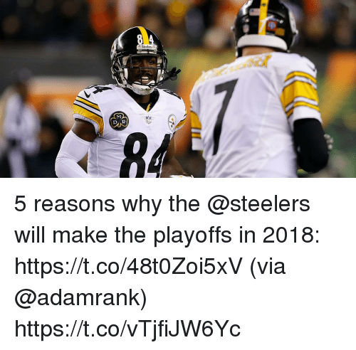 Memes, Steelers, and 🤖: 5 reasons why the @steelers will make the playoffs in 2018: https://t.co/48t0Zoi5xV (via @adamrank) https://t.co/vTjfiJW6Yc