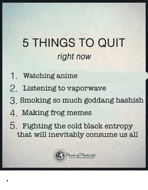 memes: 5 THINGS TO QUIT  right now  1. Watching anime  2. Listening to vaporwave  3. Smoking so much goddang hashish  4. Making frog memes  b. Fighting the cold black entropy  that will inevitably consume us all ·