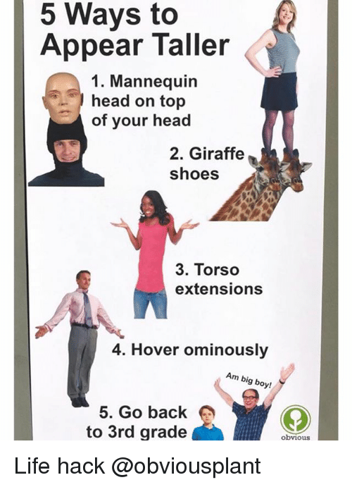 Head, Life, and Shoes: 5 Ways to  Appear Taller  1. Mannequin  head on top  of your head  2. Giraffe  shoes  3. Torso  extensions  4. Hover ominously  Am big boy!  5. Go back  to 3rd grade  obvious Life hack @obviousplant
