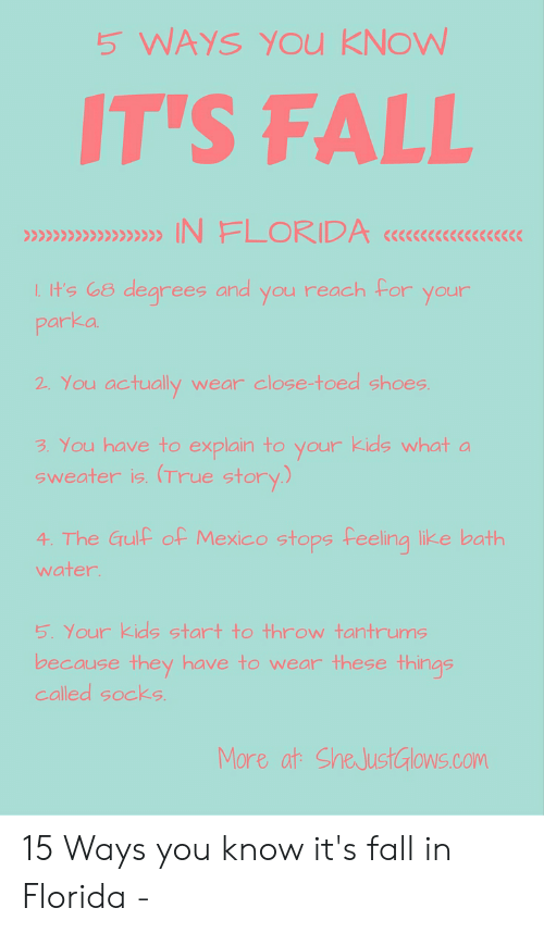 Fall In Florida: 5 WAYS YOu KNOW  IT'S FALL  IN FLORIDA  degrees and you reach For your  I.t's G8  parka  2. You actually  wear close-toed shoes.  3. You have to explain to your kids what a  Sweater is. (True story.)  4 The Gulf of Mexico stopsFeeling like bath  water  5. Your Kids start to throw tantrums  because they have to wear these things  called socks  More at SheJustGlows.com 15 Ways you know it's fall in Florida -