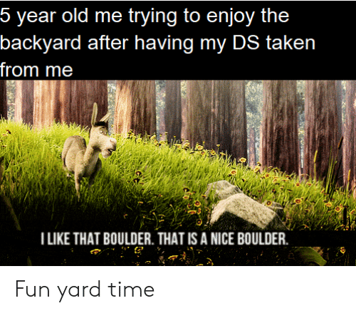 backyard: 5 year old me trying to enjoy the  backyard after having my DS taken  from me  I LIKE THAT BOULDER. THAT IS A NICE BOULDER Fun yard time