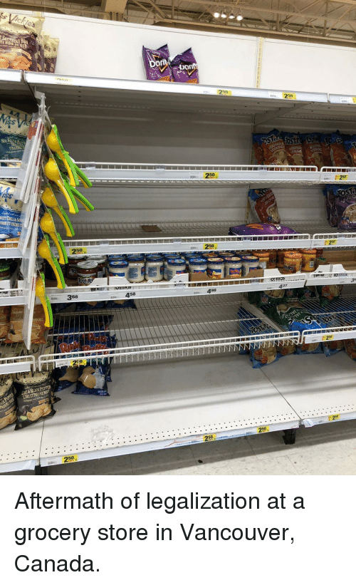Vancouver: 50  50  250  iss  RONET CREM  250-1  50  368  458  498  437  A&BLACK PEPPER  50  250  50 Aftermath of legalization at a grocery store in Vancouver, Canada.