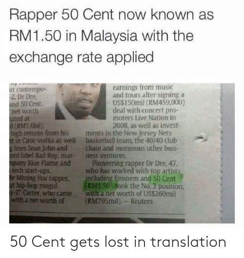 Translation: 50 Cent gets lost in translation