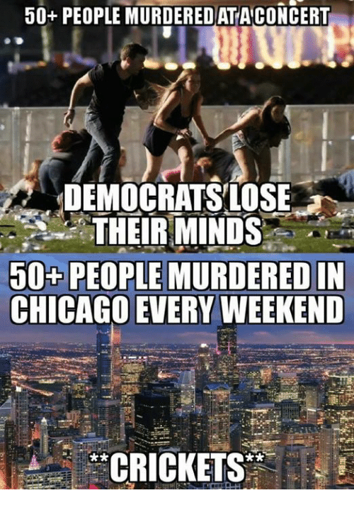 crickets: 50+ PEOPLE MURDEREDATACONCERT  DEMOCRATSLOSE  THEIRMINDS  50+PEOPLE MURDERED IN  CHICAGO EVERY WEEKEND  *CRICKETS