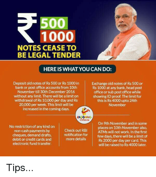 500 1000 notes cease to be legal tender here is what you - Can you cash cheques at the post office ...