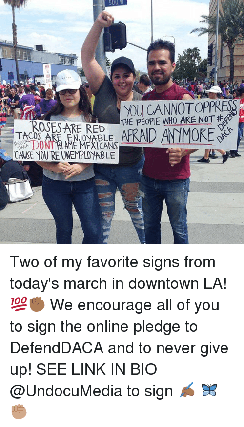 Memes, Link, and Never: 500 W  YOU CANNOTOPPRES  TACOS ARE ENJONABLE  DONT BLAE MEXICANS  CAUSE YOU'RE UNEMPLOYABLE Two of my favorite signs from today's march in downtown LA! 💯✊🏾 We encourage all of you to sign the online pledge to DefendDACA and to never give up! SEE LINK IN BIO @UndocuMedia to sign ✍🏾 🦋✊🏽