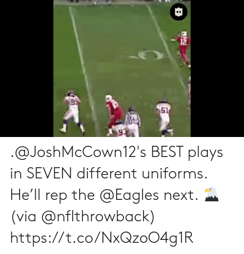 the eagles: 51 .@JoshMcCown12's BEST plays in SEVEN different uniforms.  He'll rep the @Eagles next. 🦅(via @nflthrowback) https://t.co/NxQzoO4g1R