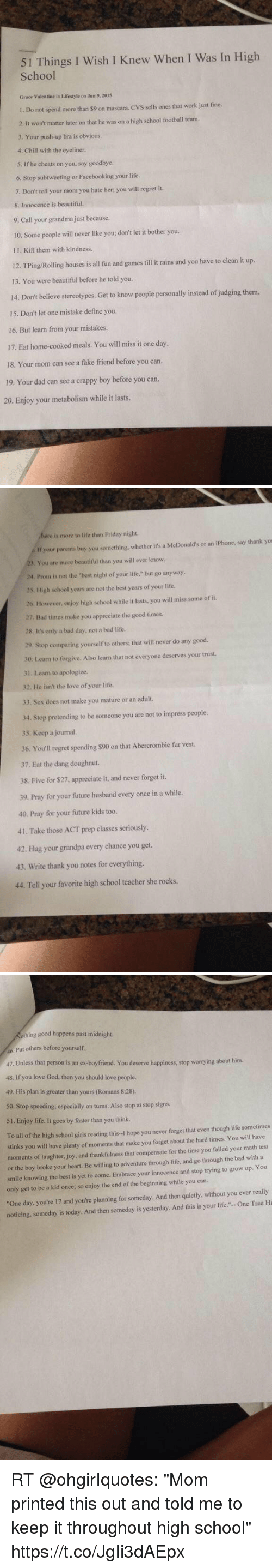 51 Things L Wish I Knew When I Was In High School Grace -6734