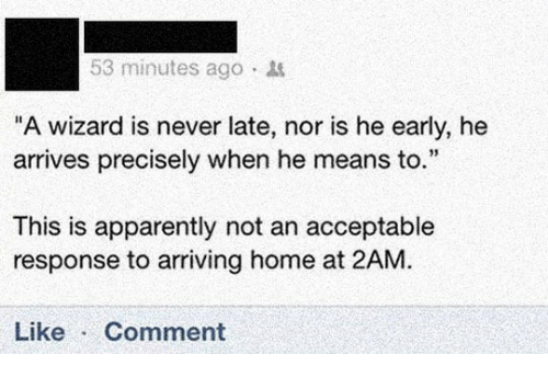 """Apparently, Home, and Never: 53 minutes ago  """"A wizard is never late, nor is he early, he  arrives precisely when he means to.""""  This is apparently not an acceptable  response to arriving home at 2AM.  Like Comment"""