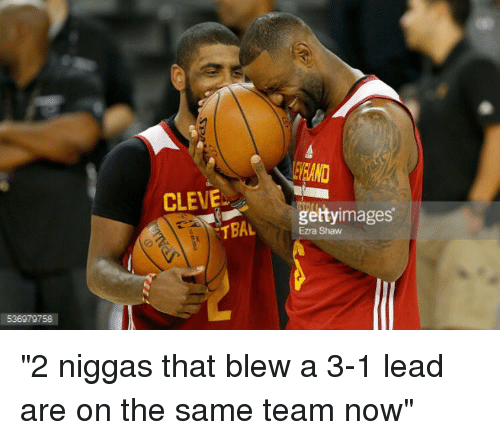 "Getty Images, Image, and Images: 536979758  CLEVE  getty images  TBAL  Ezra Shaw ""2 niggas that blew a 3-1 lead are on the same team now"""