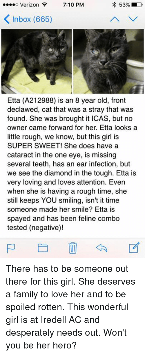 Family, Love, and Memes: 539 D  o Verizon  7:10 PM  Inbox (665)  Etta (A212988) is an 8 year old, front  declawed, cat that was a stray that was  found. She was brought it ICAS, but no  owner came forward for her. Etta looks a  little rough, we know, but this girl is  SUPER SWEET! She does have a  cataract in the one eye, is missing  several teeth, has an ear infection, but  we see the diamond in the tough. Etta is  very loving and loves attention. Even  when she is having a rough time, she  still keeps YOU smiling, isn't it time  someone made her smile? Etta is  spayed and has been feline combo  tested (negative)! There has to be someone out there for this girl. She deserves a family to love her and to be spoiled rotten. This wonderful girl is at Iredell AC and desperately needs out. Won't you be her hero?