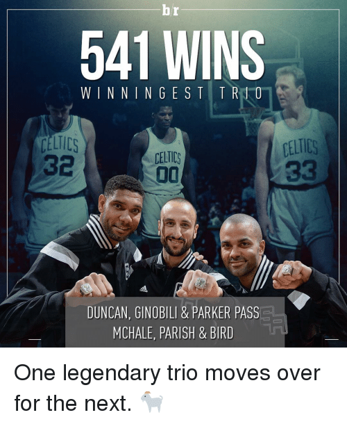 Celtic: 541 WINS  WINNING CELTICS  CELTICS  00  DUNCAN, GINOBILI & PARKER PASS  MCHALE, PARISH & BIRD One legendary trio moves over for the next. 🐐