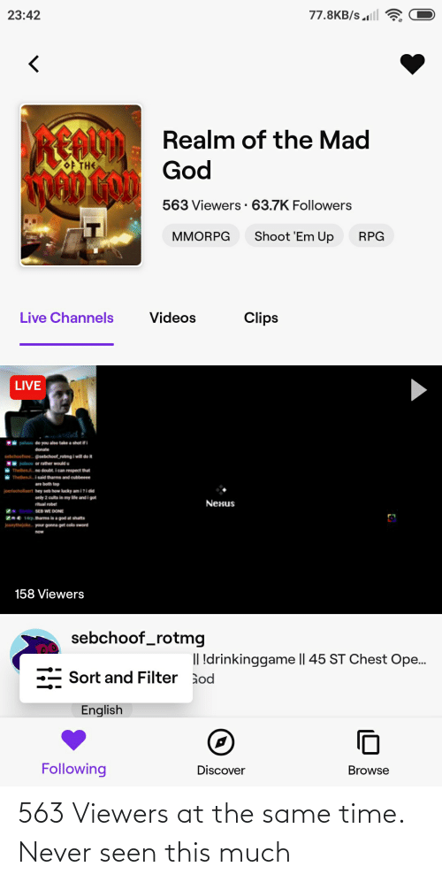 at the same time: 563 Viewers at the same time. Never seen this much