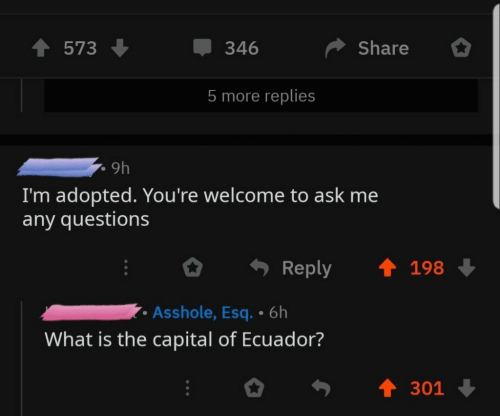 Ecuador: 573  346  Share  5 more replies  9h  I'm adopted. You're welcome to ask me  any questions  Reply 198  Asshole, Esq. 6h  What is the capital of Ecuador?  301