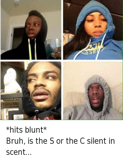 Blunts, Bruh, and Confused: *hits blunt*  Bruh, is the S or the C silent in scent... *hits blunt* -Bruh, is the S or the C silent in scent...