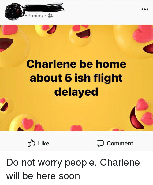 Flight Delayed: 59 mins .  Charlene be home  about 5 ish flight  delayed  Like  Comment