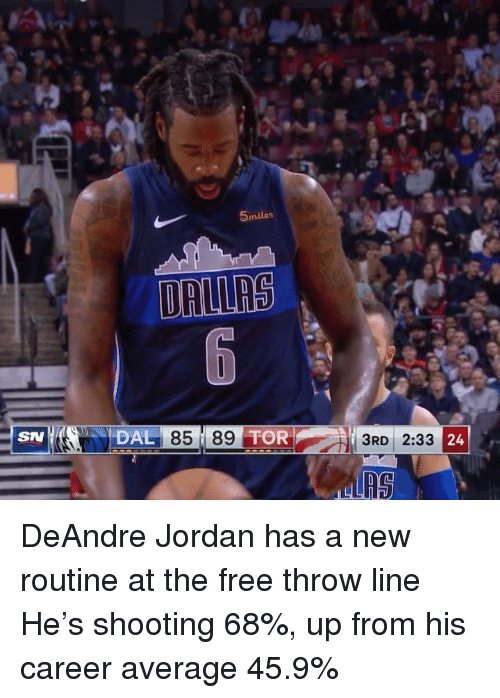 DeAndre Jordan: 5miles  DAL  85 8  SN  39 TOR  3RD 2:33  24 DeAndre Jordan has a new routine at the free throw line  He's shooting 68%, up from his career average 45.9%