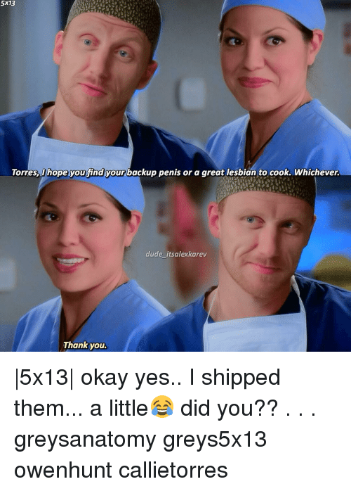 Lesbians, Memes, and Lesbian: 5x13  Torres, hope you find your backup penis or a great lesbian to cook. Whichever.  dude itsalexkarev  Thank you. |5x13| okay yes.. I shipped them... a little😂 did you?? . . . greysanatomy greys5x13 owenhunt callietorres