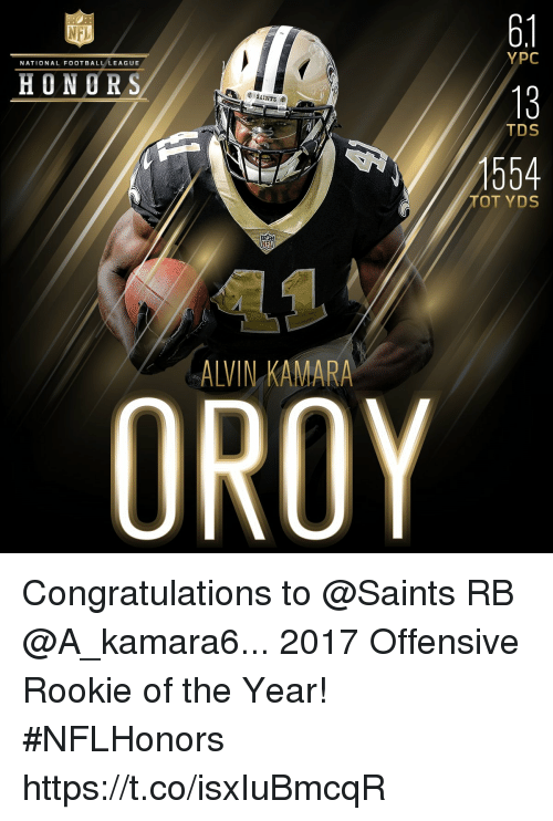 national football league: 6.1  13  554  NFL  YPC  NATIONAL FOOTBALL LEAGUE  HONORS  TDS  TOT YDS  ALVIN KAMARA Congratulations to @Saints RB @A_kamara6... 2017 Offensive Rookie of the Year! #NFLHonors https://t.co/isxIuBmcqR