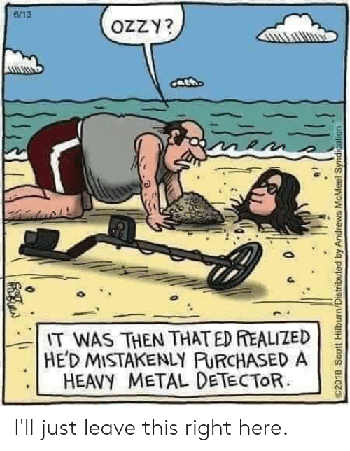 metal detector: 6/13  OZZY?  IT WAS THEN THAT ED REALIZED  HED MISTAKENLY PURCHASED A  HEAVY METAL DETECTOR  2018 Scott Hilburn/Distributed by Andrews McMeel  Syndication I'll just leave this right here.