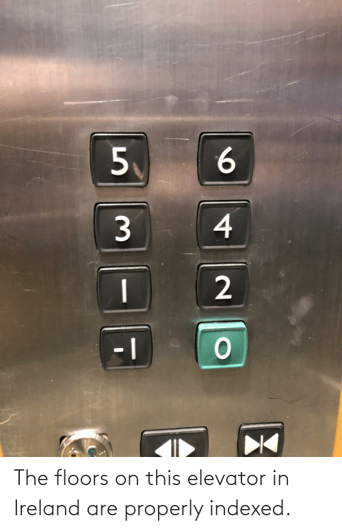 Ireland: 6.  4  2. The floors on this elevator in Ireland are properly indexed.