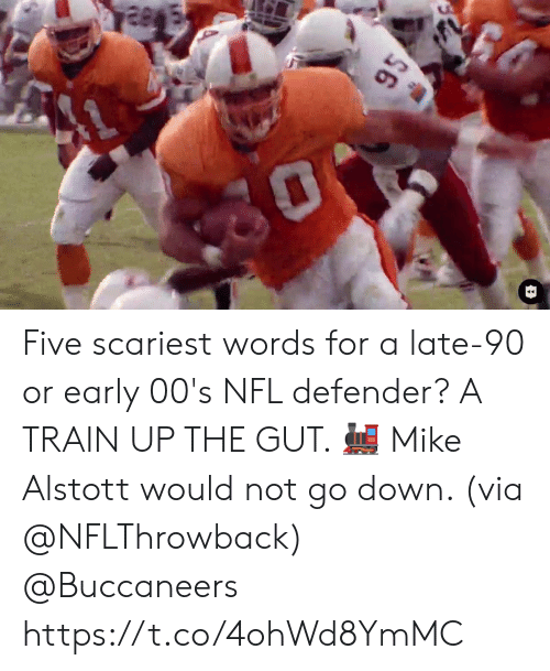 defender: $6 Five scariest words for a late-90 or early 00's NFL defender? A TRAIN UP THE GUT. 🚂  Mike Alstott would not go down. (via @NFLThrowback) @Buccaneers https://t.co/4ohWd8YmMC