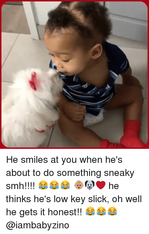 Low Key, Memes, and Slick: ,6 He smiles at you when he's about to do something sneaky smh!!!! 😂😂😂 👶🏽🐶❤ he thinks he's low key slick️, oh well he gets it honest!! 😂😂😂 @iambabyzino