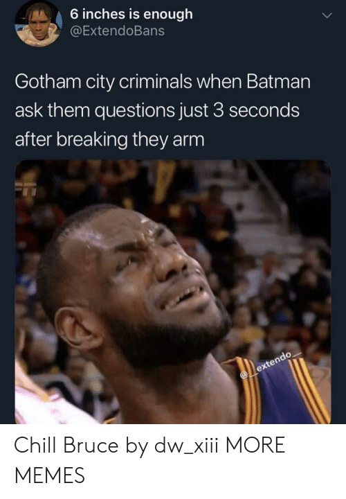 Gotham: 6 inches is enough  @ExtendoBans  Gotham city criminals when Batman  ask them questions just 3 seconds  after breaking they arm Chill Bruce by dw_xiii MORE MEMES