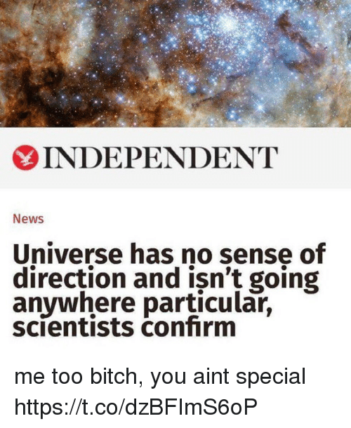 Confirmated: 6  INDEPENDENT  News  Universe has no sense of  direction and isn't going  anywhere particular,  scientists confirm me too bitch, you aint special https://t.co/dzBFImS6oP