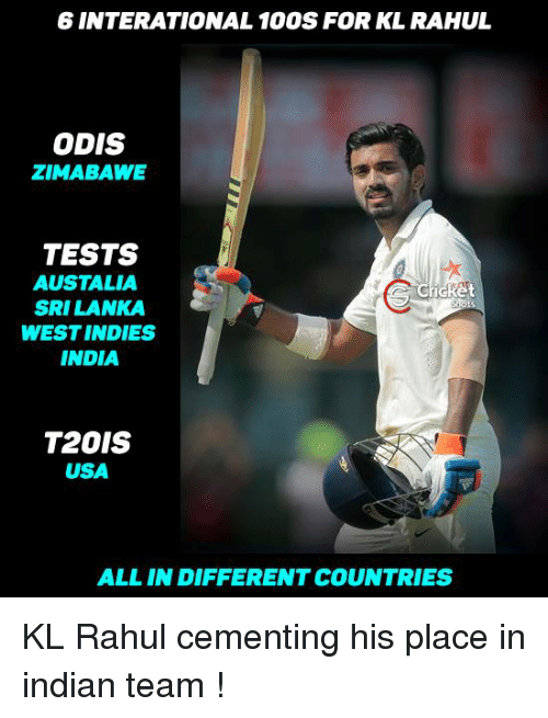 srilanka: 6 INTERATIONAL 100S FOR KL RAHUL  ODIS  ZIMABAWE  TESTS  AUSTALLA  icket  SRILANKA  WEST INDIES  INDIA  T2OIS  USA  ALL IN DIFFERENTCOUNTRIES KL Rahul cementing his place in indian team !
