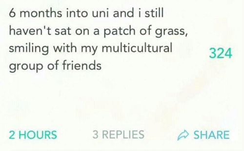 patch: 6 months into uni and i still  haven't sat on a patch of grass,  smiling with my multicultural  group of friends  324  2 HOURS  3 REPLIES  SHARE