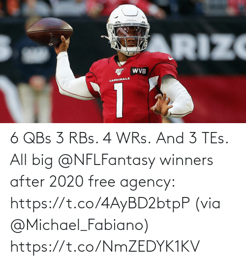 tes: 6 QBs 3 RBs.  4 WRs. And 3 TEs.  All big @NFLFantasy winners after 2020 free agency: https://t.co/4AyBD2btpP (via @Michael_Fabiano) https://t.co/NmZEDYK1KV