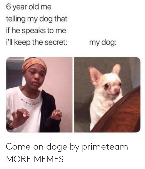 Speaks: 6 year old me  telling my dog that  if he speaks to me  i'll keep the secret:  my dog: Come on doge by primeteam MORE MEMES