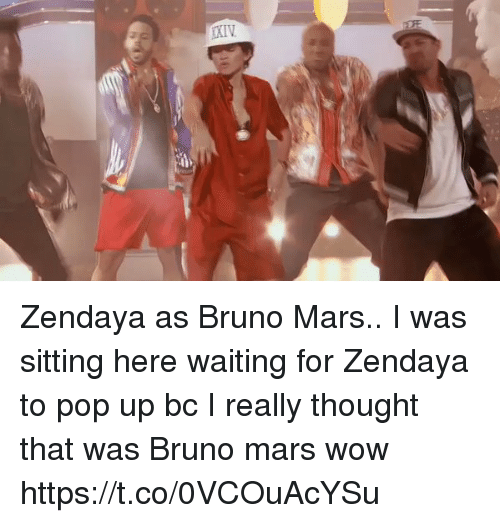Bruno Mars, Funny, and Pop: :6 Zendaya as Bruno Mars.. I was sitting here waiting for Zendaya to pop up bc I really thought that was Bruno mars wow https://t.co/0VCOuAcYSu