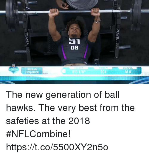 Memes, Best, and Hawks: 60 178  204  AEA The new generation of ball hawks.  The very best from the safeties at the 2018 #NFLCombine! https://t.co/5500XY2n5o