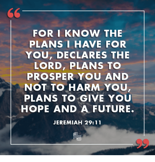 Prosperous: 60  FOR I KNOW THE  PLANS I HAVE FOR  YOU, DECLARES THE  LORD, PLANS TO  PROSPER YOU AND  NOT TO HARM YOU  PLANS TO GIVE YOU  HOPE AND A FUTURE.  JEREMIAH 29:11