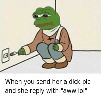 """Aww, Dick Pics, and Dicks: When you send her a dick pic and she reply with """"aww lol"""" When you send her a dick pic and she reply with """"aww lol"""""""