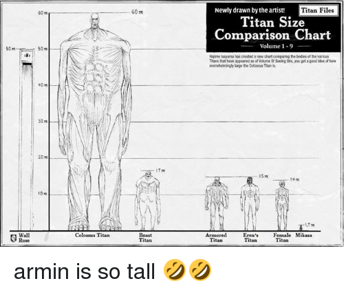mikasa: 60m  Newly drawn by the artist!  Titan Files  60 m  Titan Size  Comparison Chart  _ Volume 1-9  50m-  50m  Hajime Isayama has created a new chart comparing the bodies of the various  Ttans that have appeared as of Volume 9 Seeing this, you get a good idea of how  overwhelimingly large the Colosus Titan is  20 m  14m  10 m  Wall  Colossus Titan  Beast  Titan  Armored  Titan  Eren's  Titan  Female Mikasa  Titan armin is so tall 🤣🤣