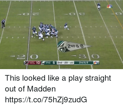 Nfl, Madden, and Atl: 61  2ND &  ATL 10 PHI  6 2nd :20 252nd  & 8 This looked like a play straight out of Madden  https://t.co/75hZj9zudG