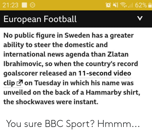 Zlatan Ibrahimovic: 62%  21:23  European Football  V  No public figure in Sweden has a greater  ability to steer the domestic and  international news agenda than Zlatan  Ibrahimovic, so when the country's record  goalscorer released an 11-second video  clipon Tuesday in which his name was  unveiled on the back of a Hammarby shirt,  the shockwaves were instant. You sure BBC Sport? Hmmm...