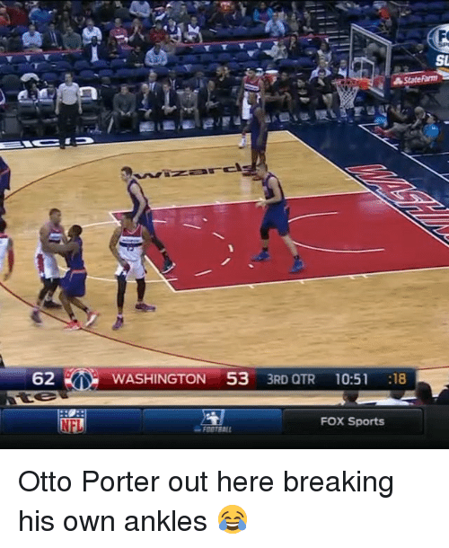 Fox Sport: 62  NFL  AF  SU  A State Farm  WASHINGTON 53  3RD QTR 10:51  18  FOX Sports Otto Porter out here breaking his own ankles 😂