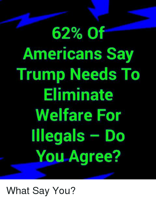 What Say You: 62% Of  Americans Say  Trump Needs To  Eliminate  Welfare For  Illegals Do  You Agree? What Say You?