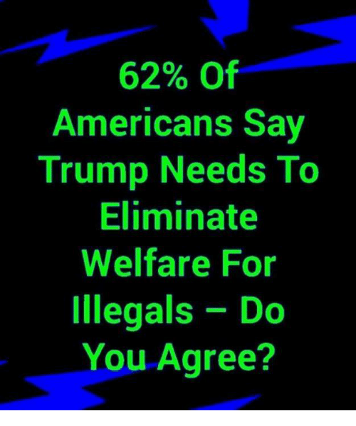 Trump, Welfare, and You: 62% Of  Americans Say  Trump Needs To  Eliminate  Welfare For  Illegals Do  You Agree?