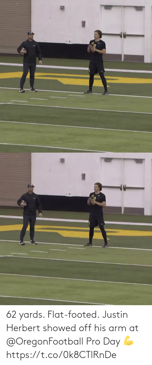 Showed: 62 yards. Flat-footed.  Justin Herbert showed off his arm at @OregonFootball Pro Day 💪 https://t.co/0k8CTlRnDe