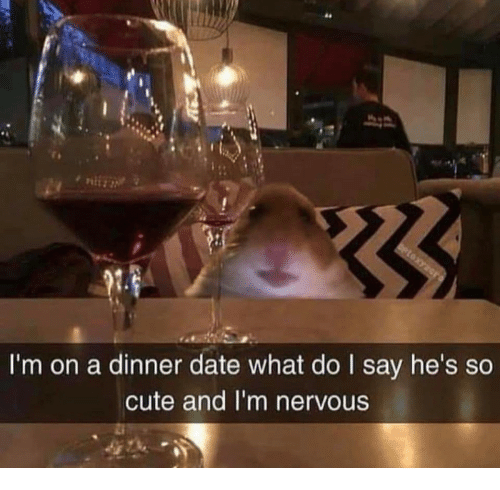 dinner date: 64  I'm on a dinner date what do I say he's so  cute and I'm nervous