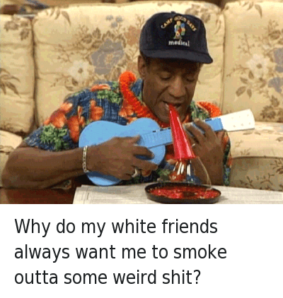 Friends, Shit, and Smoke Weed Everyday: Why do my white friends always want me to smoke outta some weird shit? Why do my white friends always want me to smoke outta some weird shit?
