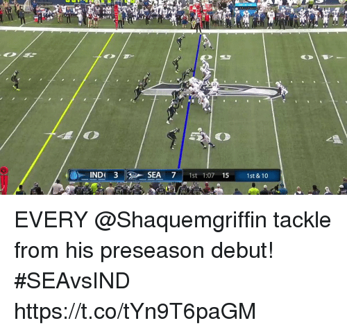 Memes, 🤖, and Debut: 65  12  IND 3SEA 71s 1:07 15 1st &10 EVERY @Shaquemgriffin tackle from his preseason debut! #SEAvsIND https://t.co/tYn9T6paGM