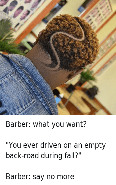"""Say No More: Barber: what you want?  Him: """"You ever driven on an empty back-road during fall?""""  Barber: say no more Barber: what you want?-""""You ever driven on an empty back-road during fall?"""" -Barber: say no more"""